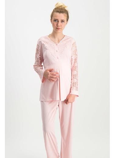 Arnetta Arnetta Chic Mommy Ekru Kadın Lohusa Pijama Takımı Pudra